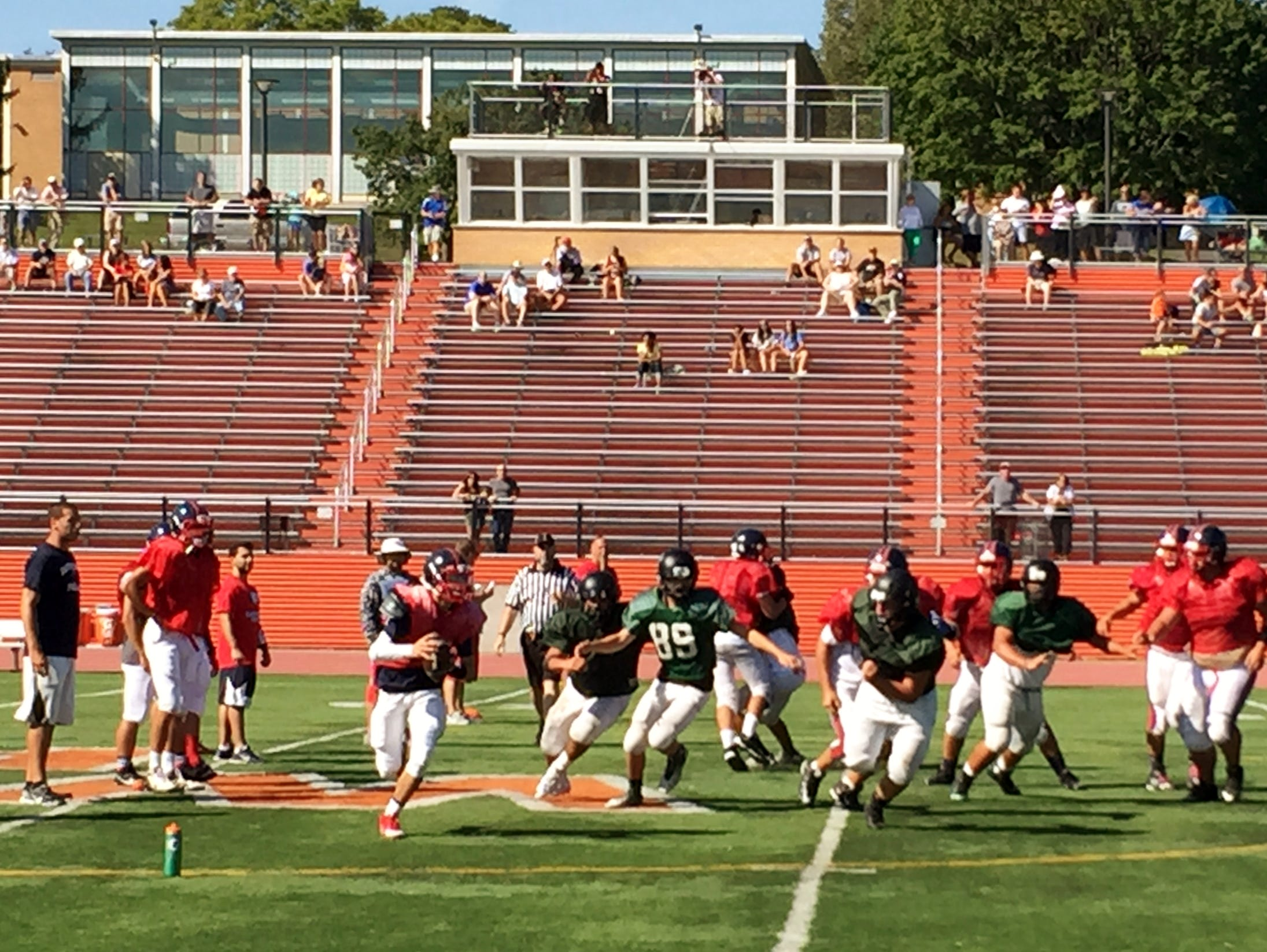 Eastchester shows off its newly-installed spread offense during a scrimmage against Yorktown at White Plains High School.