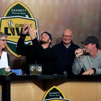 Brett Christopherson and Packers tackle David Bakhtiari welcome former co-host Tom Crabtree to Clubhouse Live from the Radisson Paper Valley Hotel in Appleton, Wis., Monday, November 30, 2015. Ron Page/Post-Crescent Media