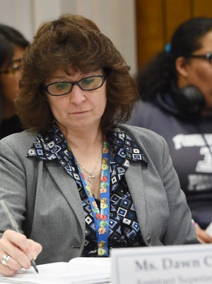 Dawn Cupano, assistant superintendent for finance and operations for the Poughkeepsie City School District, pictured at a board meeting on Oct. 4, 2017 in the Jane Bolin Administration Building on College Avenue.