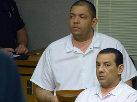 Felix Ruben  Ayala, background, and Jose Luna, were both convicted last month of murder in the death of a Redding man, as well as a series of marijuana-related robberies, are due to be sentenced Feb. 9.