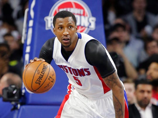 FILE - In this Feb. 17, 2017 file photo, Detroit Pistons guard Kentavious Caldwell-Pope brings the ball up court during an NBA basketball game against the San Antonio Spurs in Auburn Hills, Mich. Caldwell-Pope has been sentenced to a year of probation in connection with a March traffic stop in suburban Detroit. Caldwell-Pope learned his punishment Wednesday June 14, 2017, after pleading guilty to allowing a person to drive under the influence. A charge of operating while intoxicated was dismissed. (AP Photo/Carlos Osorio File)