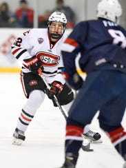 St. Cloud State's Jimmy Schuldt looks for a way around