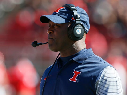 Illinois Fighting Illini head coach Lovie Smith looks on during the first half against the Rutgers Scarlet Knights at High Points Solutions Stadium.