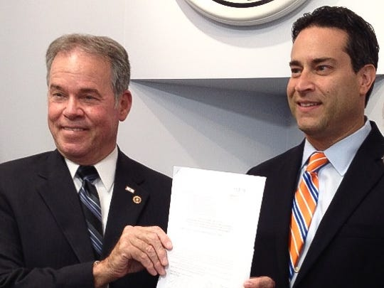 Rockland County Executive Ed Day, left, and county Legislature Chairman Alden Wolfe