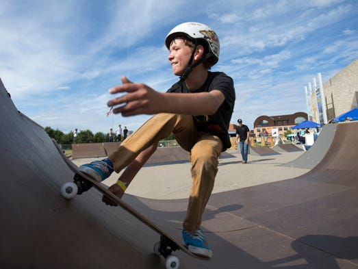 Zach Neely, Union City, 12, skates a half pipe at a