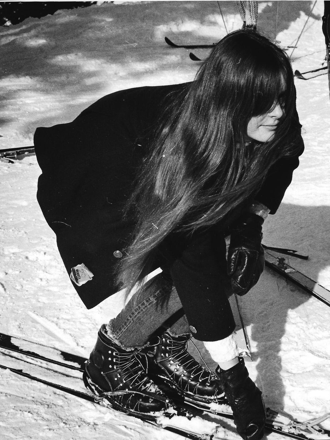A photo of Nancy Henderson skiing in 1967. Two years