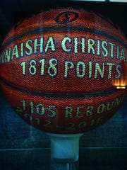 Dynaisha Christian's basketball sits in the hall outside of Pocomoke's gym.