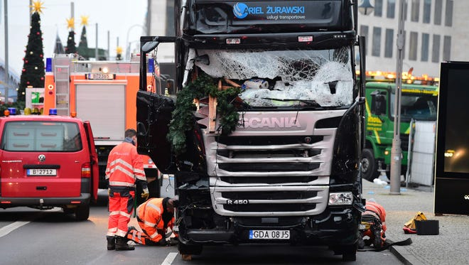 The truck that was used to plow through a Christmas market in Berlin on Dec. 19, 2016, that killed 12 people and wounded more than 50 more.