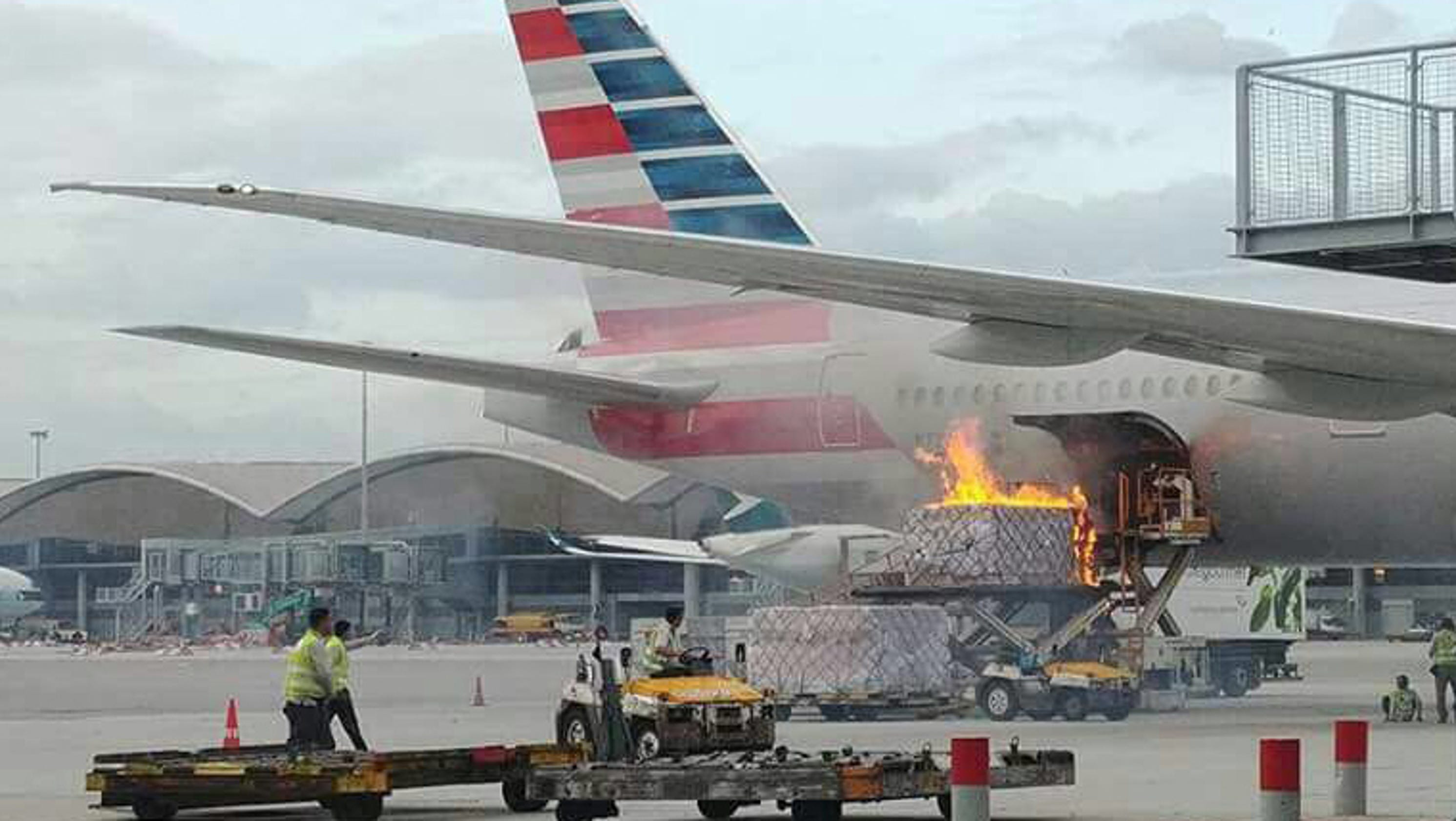 Cargo Fire Creates Dramatic Scene At Hong Kong Airport