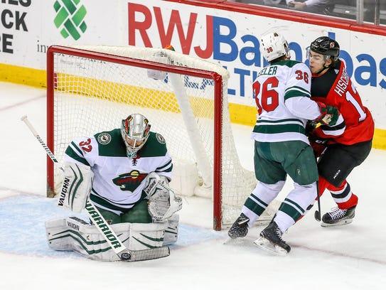 Minnesota Wild goaltender Alex Stalock (32) makes a