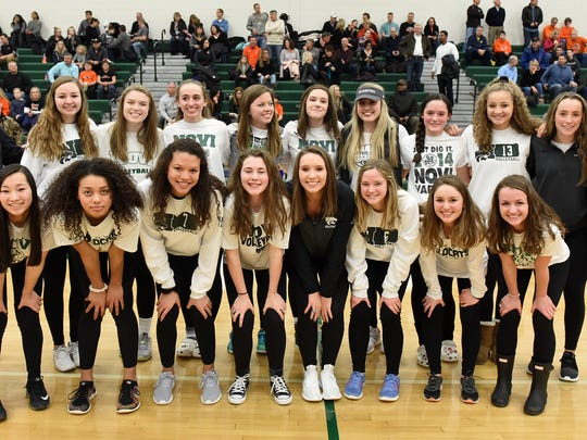 Novi High's state championship volleyball team unveiled its banner Feb. 10.