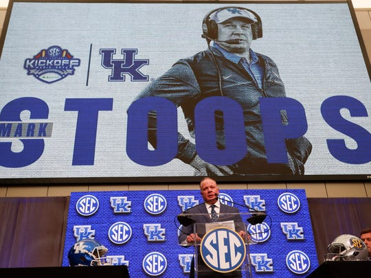 UK coach Mark Stoops, seen here at SEC media days in July, will be a popular man if he leads UK to its best regular season finish since 1977.