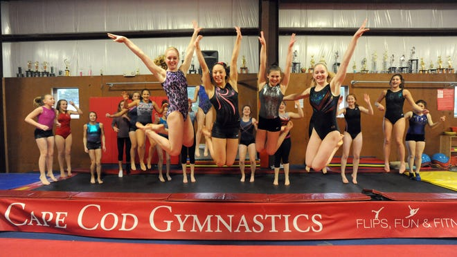 """Her talent was off the charts. She was easy to work with, fun to work with, and very talented. The grace and her power on tumbling was just phenomenal,"" said Barnstable head coach Duncan Chase of Tali Twomey, second from right, here with her fellow 2016 Red Raiders seniors, from left, Haley Myrbeck, Leksansa Andrews and Kayla Myrbeck, right."