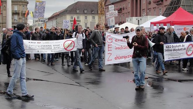A GEZ-protest held in Karlsruhe, Germany on Oct. 3, 2016.