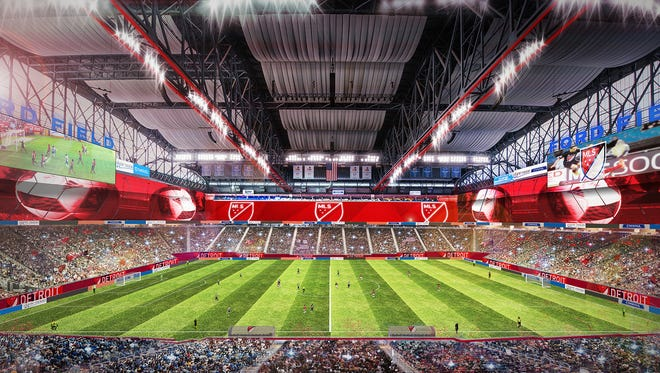 Rendering of the Detroit bid to land a Major League Soccer team. This is what Ford Field would look like during a match.