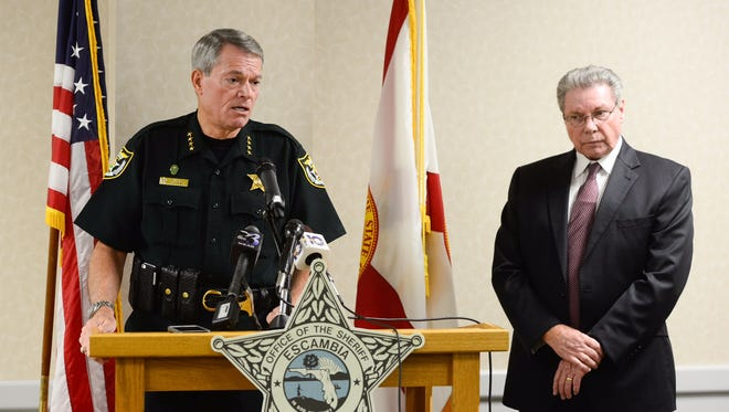 Escambia County Sheriff David Morgan, left, and State Attorney Bill Eddins at a press conference Tuesday afternoon.