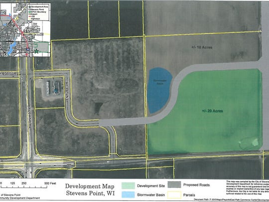 A map showing the location of the new brewery being planned for O'so Brewing Company in the East Park Commerce Center.
