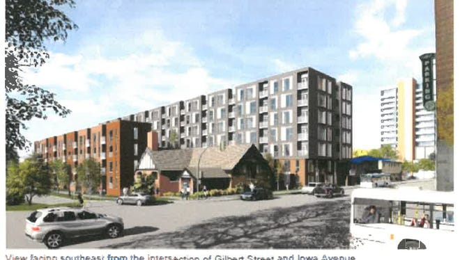 A rendering of the Augusta Place development, with the Unitarian Universalist Church at the corner of Gilbert Street and Iowa Avenue.