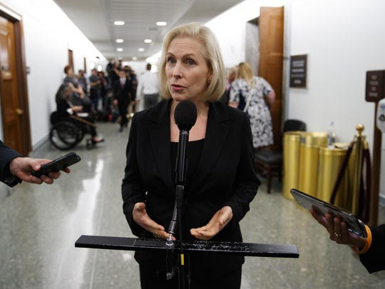 Sen. Kirsten Gillibrand, D-N.Y., speaks to media during a break in a Senate Judiciary Committee hearing on Capitol Hill in on Sept. 27, 2018, with Christine Blasey Ford and Supreme Court nominee Brett Kavanaugh.