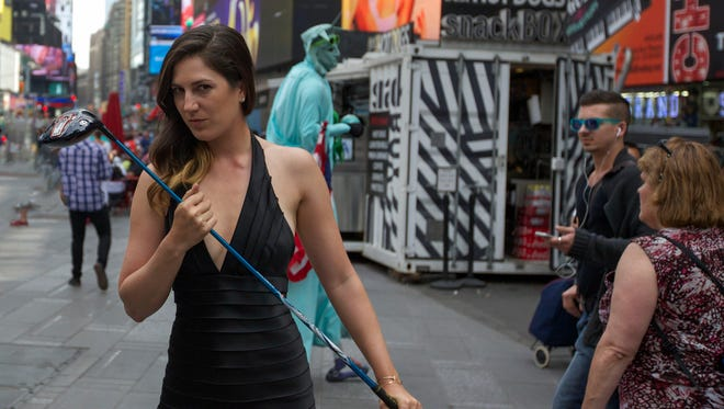 Sandra Gal during a video shoot for an upcoming street golf video that was shot throughout New York City.