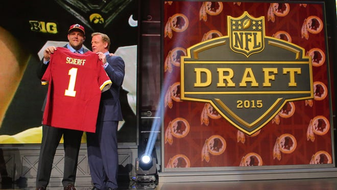 Football is now a profession for Brandon Scherff, now that he's a member of the Washington Redskins after getting drafted with the No. 5 overall pick.