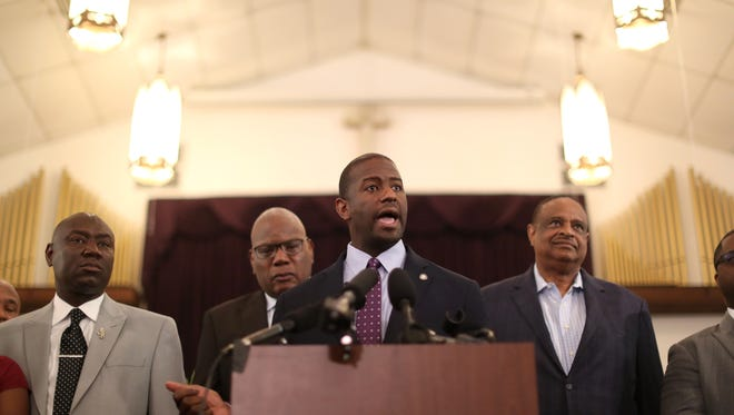 "Gubernatorial candidate Andrew Gillum speaks at the Bethel Baptist Church during a rally against the ""Stand your Ground"" law Wednesday, Aug. 8, 2018."