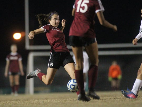 Chiles' Gabby O'Sullivan takes a shot as Lincoln beat Chiles 2-0 last year in a District 2-4A semifinal.