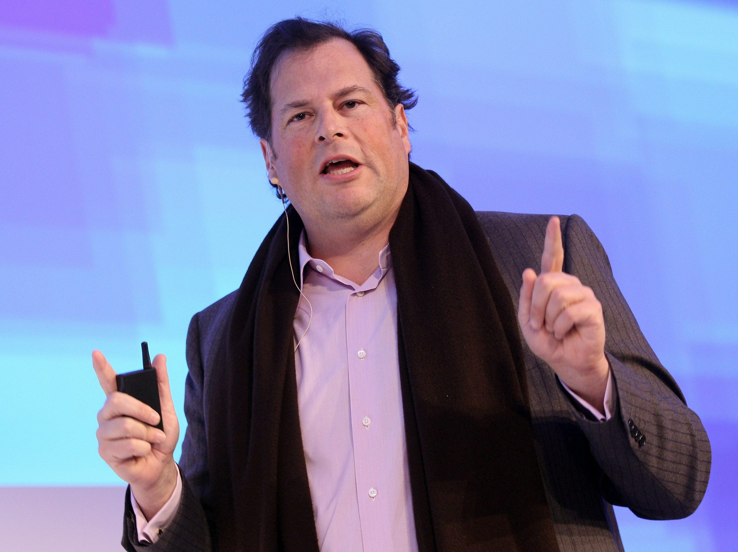Marc Benioff, chairman and CEO of Salesforce.com, a cloud computing company, addresses the audience during the Digital Life Design (DLD) conference on January 24, 2011, in Munich.