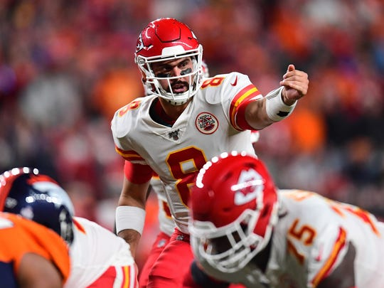 Oct 17, 2019; Denver, CO, USA; Kansas City Chiefs quarterback Matt Moore (8) calls out from the goal line in the second quarter against the Denver Broncos at Empower Field at Mile High. Mandatory Credit: Ron Chenoy-USA TODAY Sports