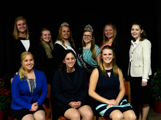 The competitors in this year's Manitowoc County Fairest of the Fair competition pose with 2015 winner Cheyenne Mueller and 2016 Wisconsin Fairest of the Fair Gloria Kesler at the Manitowoc County Expo on Thursday, June 2. The competitors were, from left to right starting in the back, Brooke Roberts, Karra Cina, Shayna Schroeder, Emma Dill, Sydney Teresinski, Nicole Schoenberger and Breanna Glaeser.