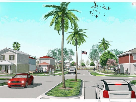A rendering for Vincent's Acres, a future Habitat for Humanity development with two-story homes.