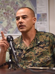 Maj. Timothy Patrick, public affairs officer for U.S. Marine Corps Activity, Guam, speaks during a press conference on the $164.89 million contract for infrastructure construction of Marine base on Friday, Aug, 18, 2017.