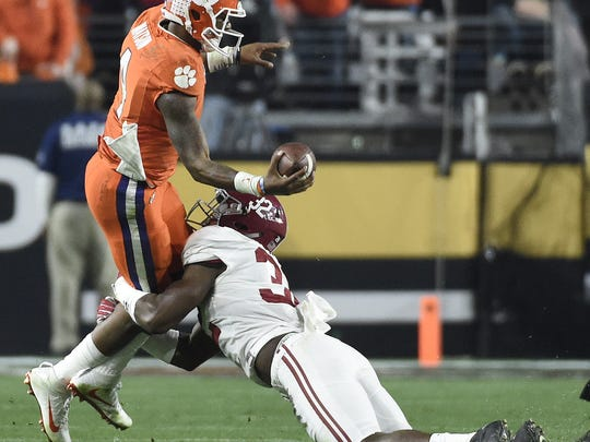 Clemson quarterback Deshaun Watson (4) during the 3rd quarter of the National Championship game on Sunday, January 11, 2016 in Glendale, AZ.