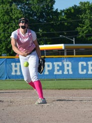 Pennfield pitcher Alicia Lake throws home against Lakeview