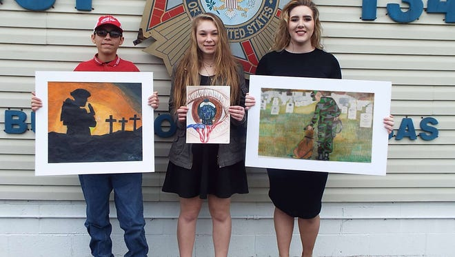 """The Bull Shoals VFW Hoevel-Barnett Post 1341 recently announced the third, second, and first place winners of the Marion County Young American Creative Patriotic Art Awards. Pictured from left, is Third place $50 winner Nathan Vaughn with his art titled """"No Greater Love.""""  Second place $100 winner Kayla Smith with her art titled """"New Beginning.""""  First place $150 winner Haley Van Nada with her art  titled """"Forever Friends.""""  They were presented their checks by VFW Auxiliary President Chris Ross, and Auxiliary Secretary Darlene Brakebill. Haley Van Nada's art piece will be sent for judging at the VFW District, Department, and the National VFW for a chance to win one of five national VFW scholarships."""