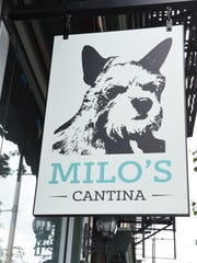The outside sign for Milo's Cantina. The restaurant