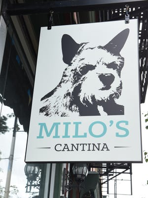 The outside sign for Milo's Cantina. The restaurant is named for owner Jeremy Phillips' dog, a chihuahua terrier mix.