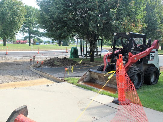 A round-a-bout has been installed at the northern entrance of the campus shared by The Ohio State University at Marion and the Marion Technical College. It is part of a summer paving project that campus officials say will be finish by the end of August.