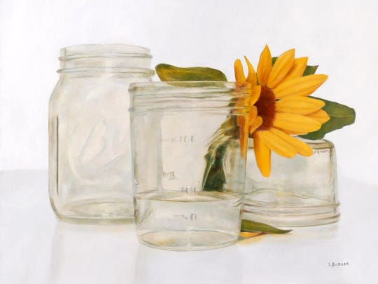 """Daisy Jars,"" painting by Susan Budash, who is exhibiting her work at Fine Line Designs Gallery in Ephraim."
