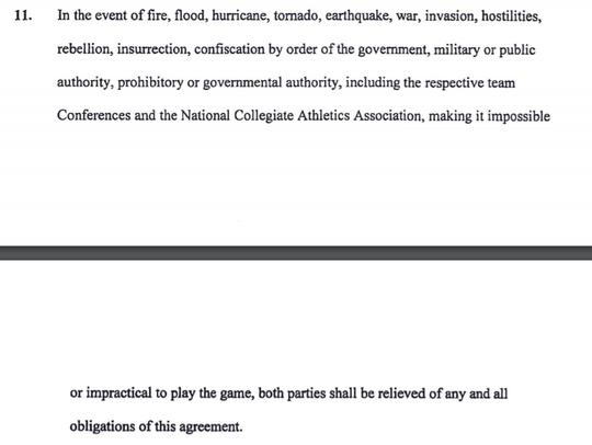 Clause 11 in the FSU-Louisiana-Monroe game contract.