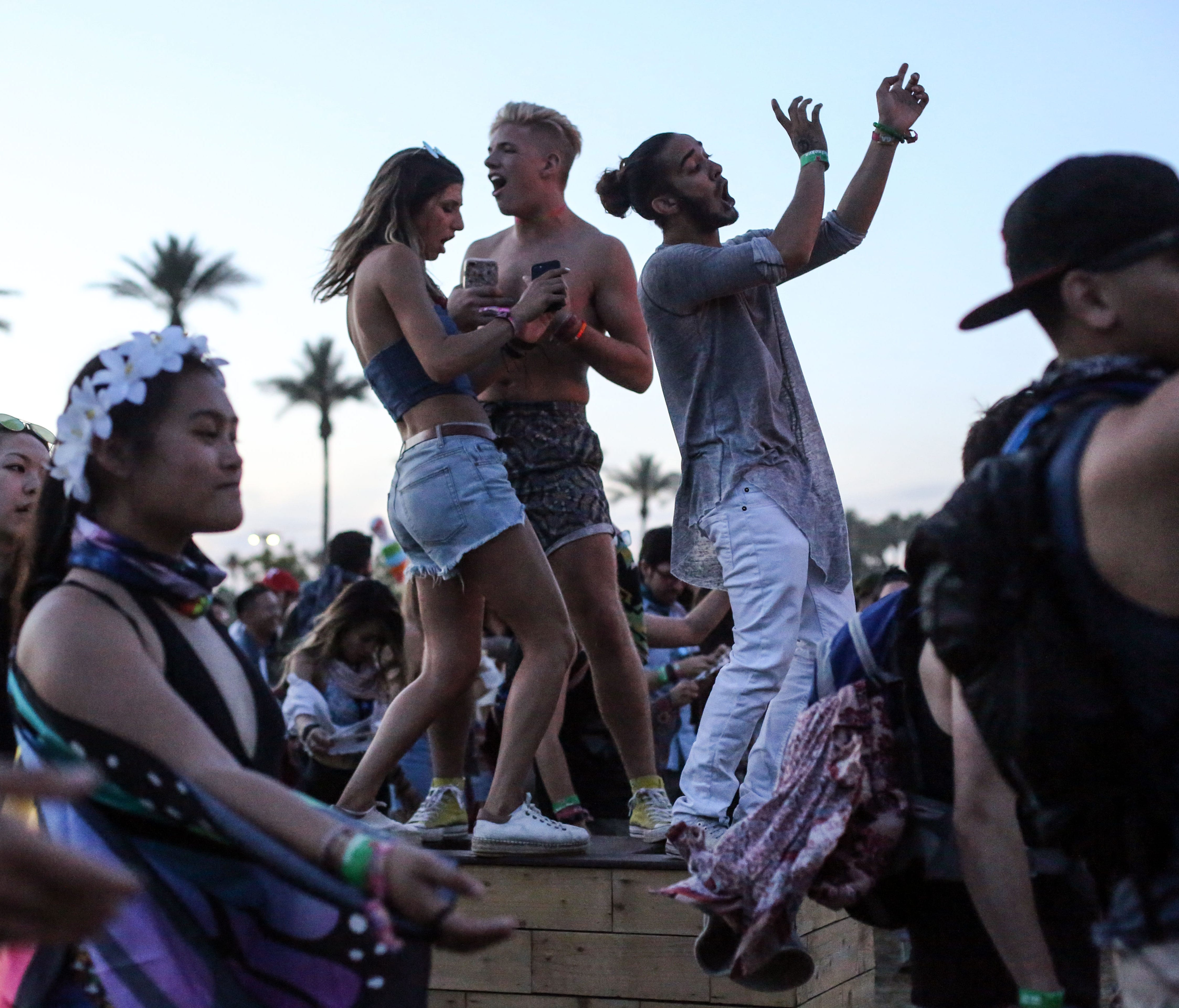 Attendees dance during the Coachella Valley Music and Arts Festival at Empire Polo Club.