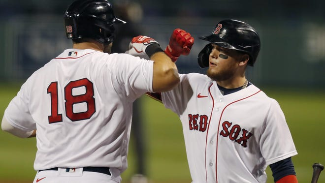 Mitch Moreland (18) and Alex Verdugo combined for three home runs Friday, powering the Red Sox past the Blue Jays.