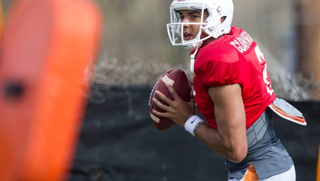 Tennessee quarterback Jarrett Guarantano during practice on Tuesday, March 28, 2017.