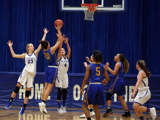 Manchester's Destiny Anderson shoots. Donovan Catholic