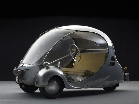 Designed and fabricated by Paul Arzens, L'Oeuf électrique (1942) is featured in the 'Dream Cars: Innovative Design, Visionary Ideas' exhibit' at the Indianapolis Museum of Art from May 3 through Aug. 23.