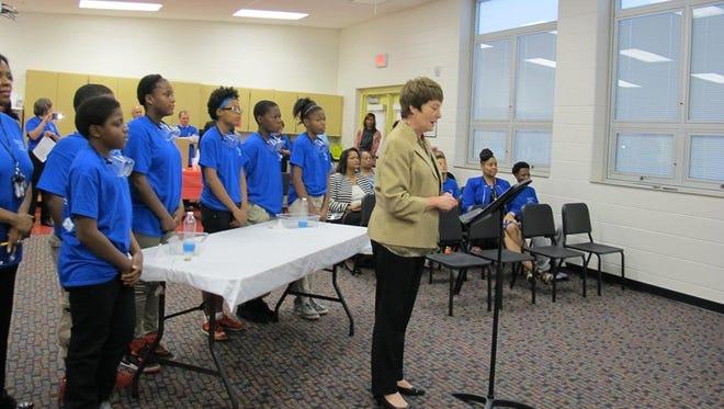 Cincinnati Public Schools Superintendent Mary Ronan announces the district's new Online Explainers program.