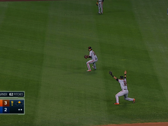 Brandon Crawford received the relay at 12 seconds.