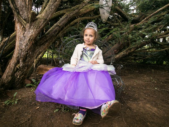 Dressed as a princess fairy, Harmony Brown, 4, of Lancester