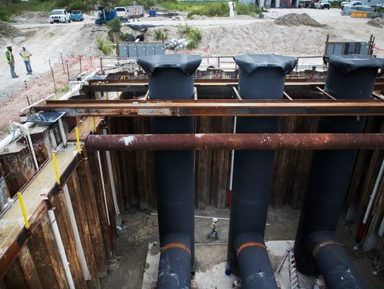 Construction progresses on a pump station that will