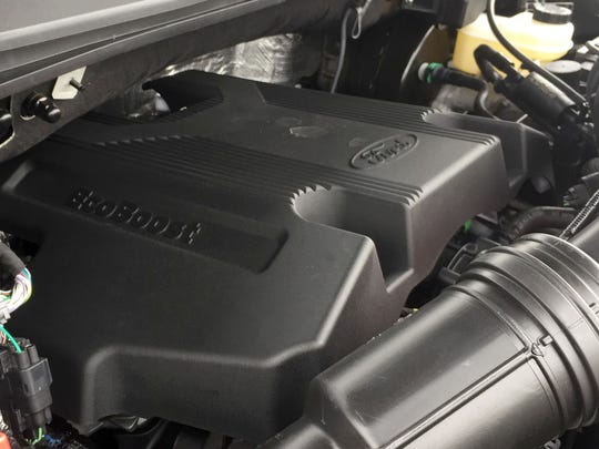Ford's all-new second generation 3.5L Ecoboost V6 engine produces 375 horsepower and 470 pound-feet of torque. Here it is on a 2017 Ford F-150.
